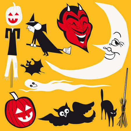 set of illustrations. halloween theme  Vector