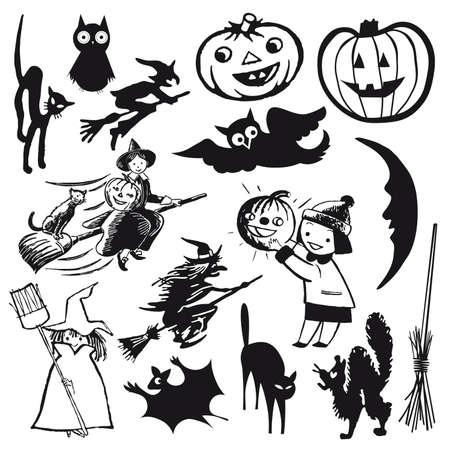 set of illustrations. halloween theme cartoon Vector