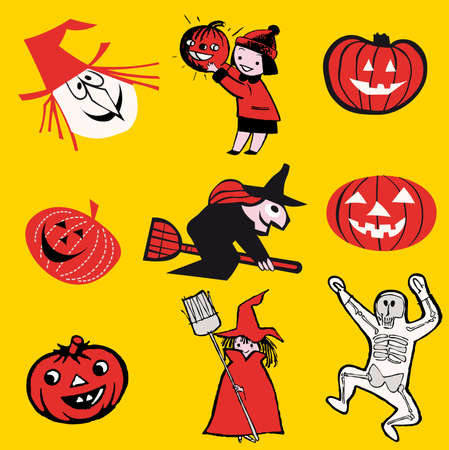 set of illustrations. halloween theme cartoon Vector