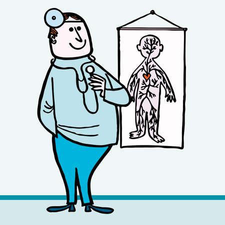 hospital cartoon: Felice medico medico ospedale cartoon illustraction