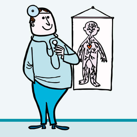doctor examine: Happy Doctor medical hospital cartoon illustraction
