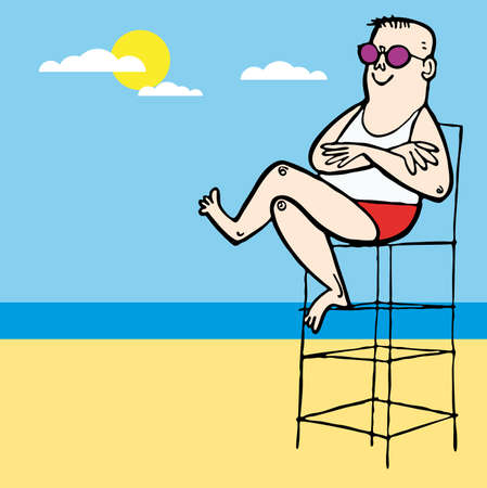 Baywatch lifeguard boy beach illustration cartoon Illustration