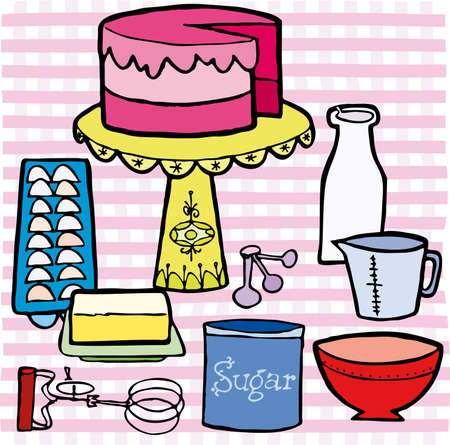 Birthday cake and ingredients on table with pink illustration cartoon  Vector
