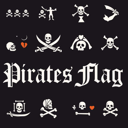 A set of pirate flags, skulls and bones illustration  Vector