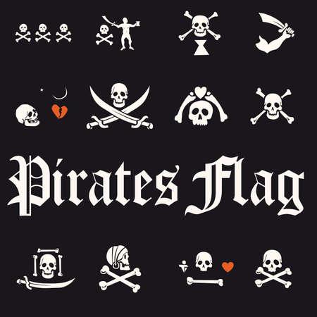 delincuencia: Un conjunto de ilustraci�n de banderas, cr�neos y huesos de pirata