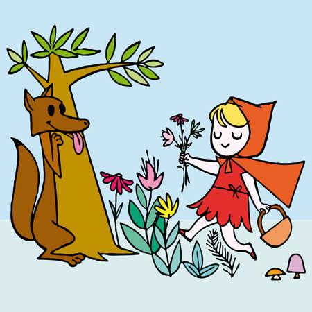 czerwony kapturek: Little Red Riding Hood Scene wektora ilustracji kreskówki