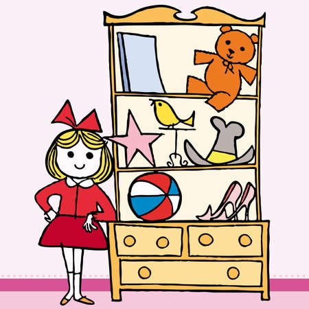 puerile: Girls in bedroom, with furniture and toys. Vector illustration cartoon.