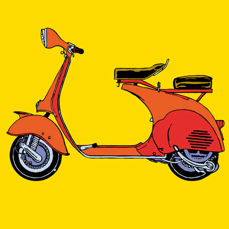 scooter: Detail klassieke retro vintage Scooter vector illustratie cartoon Stock Illustratie