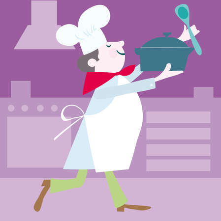 An illustration of a man cooking/baking. Vector cartoon.  Stock Vector - 6506161