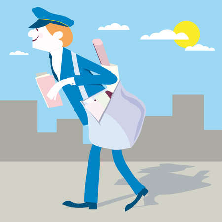 paper delivery person: Postman Mailman mail carrier vector illustration cartoon