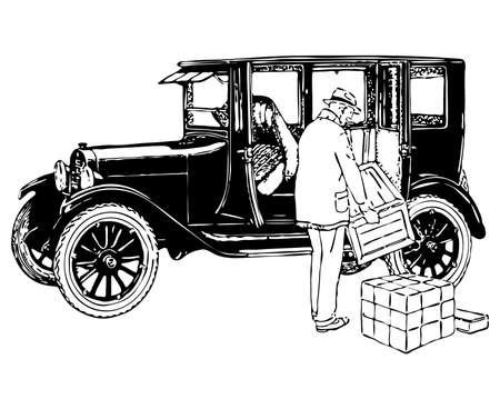 old timer: old timer car illustration  Illustration