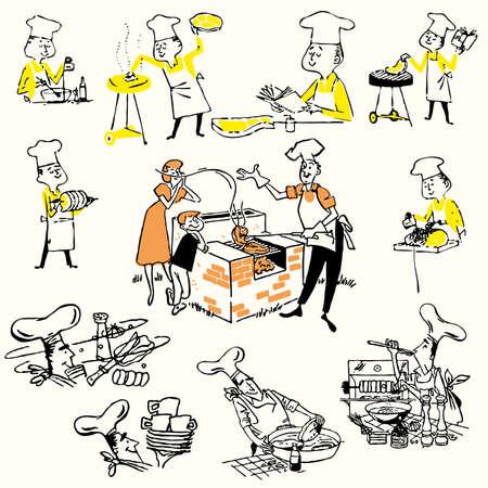 Set chef grilling  set barbecue illustration  Vector