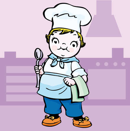An illustration of a girl/kids cooking/baking. cartoon. Stock Vector - 6583639