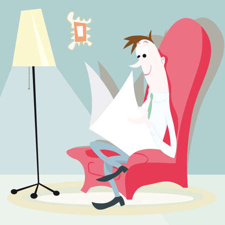 man sitting on the sofa with newspaper cartoon illustration Vector