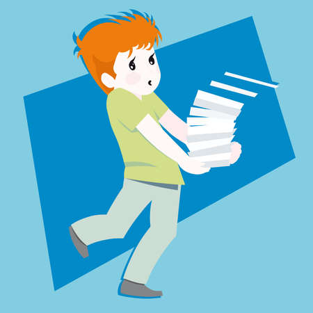 Boy/ kids Postman Mailman mail carrier  illustration cartoon Stock Vector - 6616842
