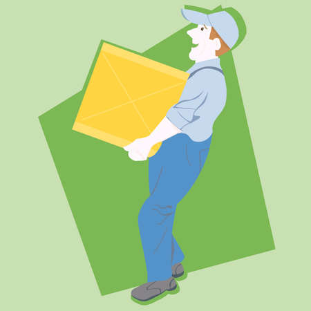 paper delivery person: Postman Mailman mail carrier  illustration cartoon