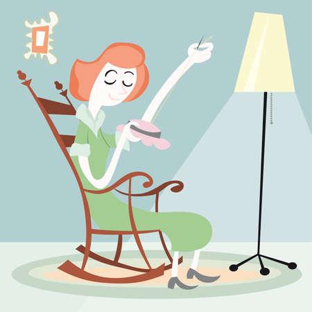 stitch: Woman Sewing house  illustration cartoon Illustration