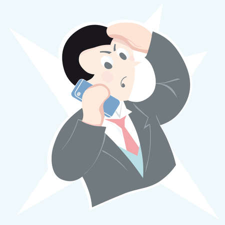 laptop outside: Stylized man using a mobile phone  illustration Illustration