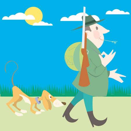 cazador: Hunter y su caricatura de ilustraci�n de caza de perro