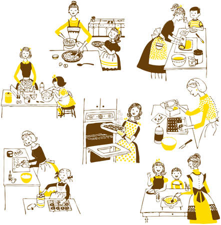 hand drawn cooking doodles. illustration cartoon. Vector