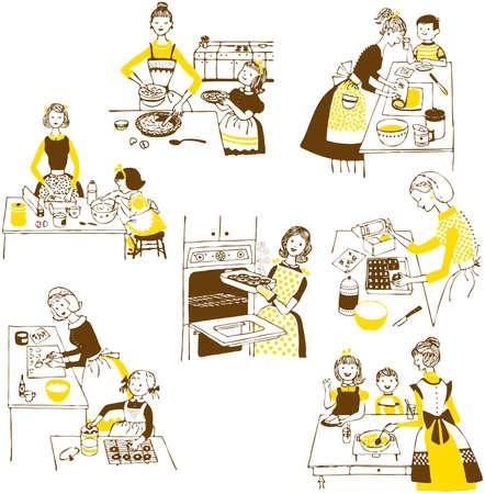 hand drawn cooking doodles. illustration cartoon. Vector