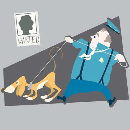 burglar man: police and dog illustration cartoon  Illustration
