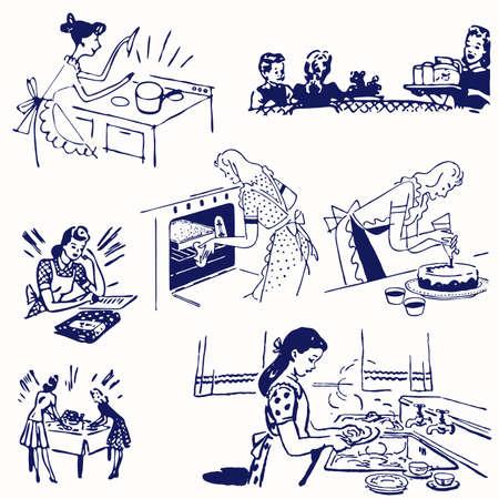hand getekend koken doodles. illustratie cartoon.