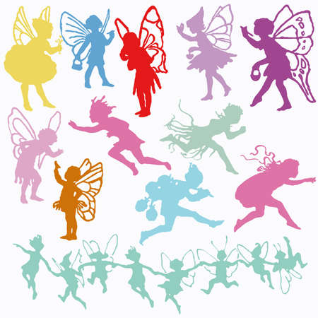 fairy angel cherub valentine cupid set silhouettes royalty free cliparts vectors and stock illustration image 6616841