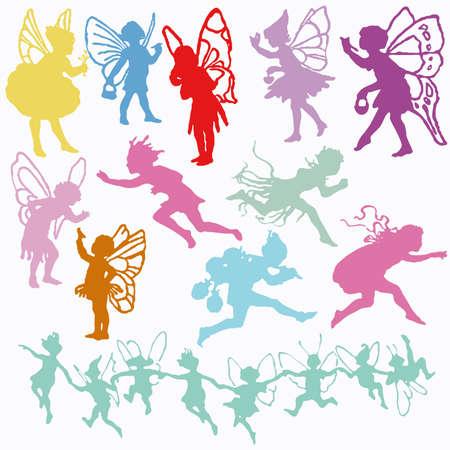 valentine cherub: Fairy Angel Cherub valentine cupid set silhouettes   Illustration