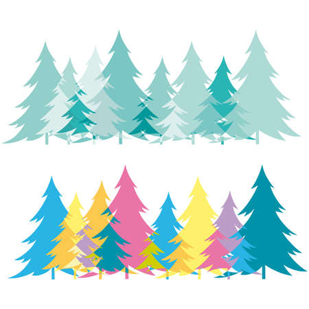 Forest abstract creative floral pattern background with curve xmas tree  Stock Vector - 6676503