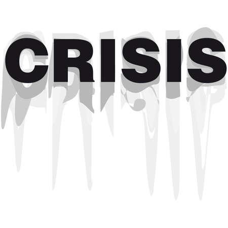 financial emergency: Crisis word vector illustration grunge cartoon black and white Illustration