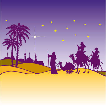 christmas religious: wisemen silhouette cartoon vector ilustration  Illustration