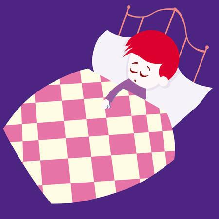 child bedroom: ni�o durmiendo en su caricatura de ilustraci�n vectorial de cama