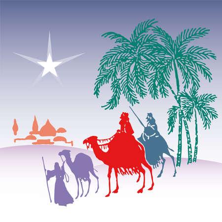 rois mages: illustration vectorielle de Wisemen silhouette cartoon  Illustration