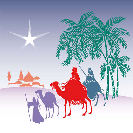 wisemen: wisemen silhouette cartoon vector illustration  Illustration