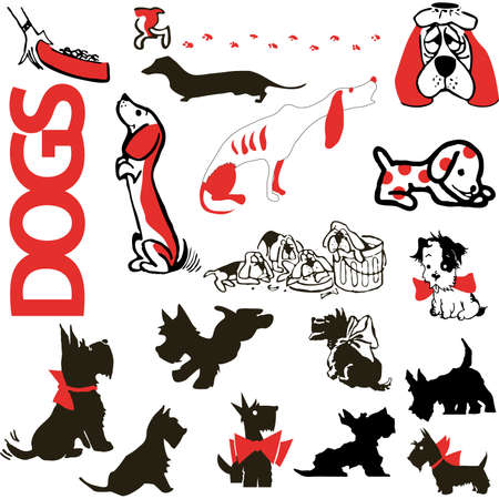Collection silhouettes dogs vector  illustration cartoon sketch icons Vector