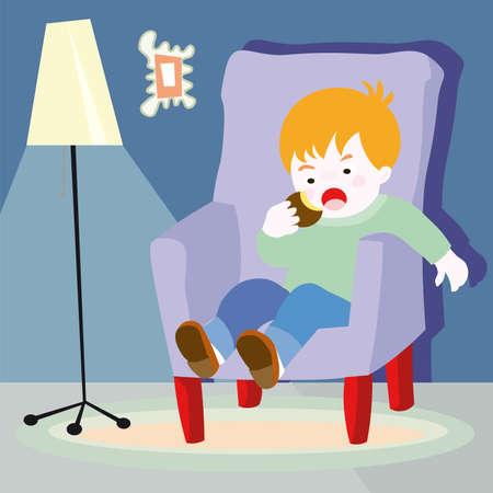 Jongen, het eten van voedsel - vector cartoon schets illustratie  Stock Illustratie