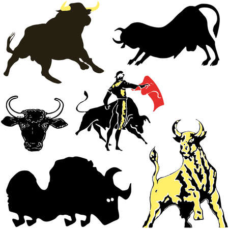 hoofed mammal: Set of silhouettes of a bull of a different appearance and the size on a white background