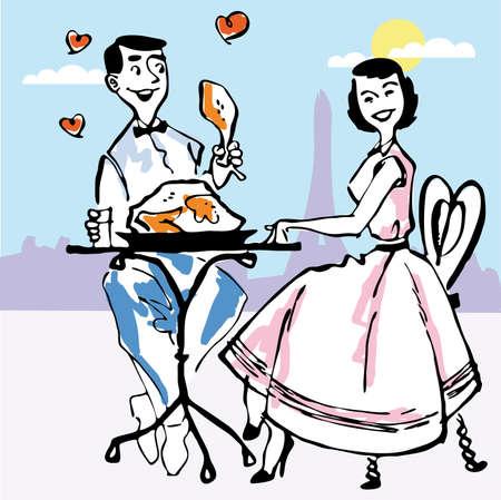 couple in restaurant illustration  Vector