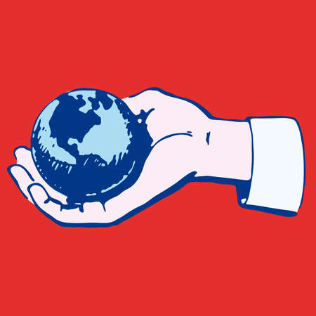 Hand with globe illustration cartoon sketch concept Stock Vector - 6761757