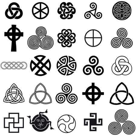 celtico: Set di simboli celtici icone vettoriali. Set di schemi di tatuaggio. Vettoriali