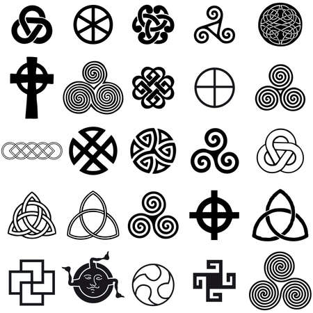 Set of Celtic symbols icons vector. Tattoo design set. Vector