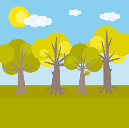 autumn scene: Forest theme. Various trees with various color of foliage. Vector illustration cartoon sketch Illustration
