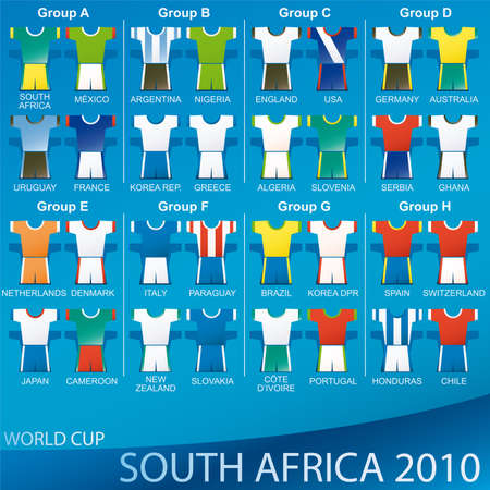 2010 World Cup South Africa - TEAMS. Vector illustration t-shirt sport equipment Stock Vector - 6761785