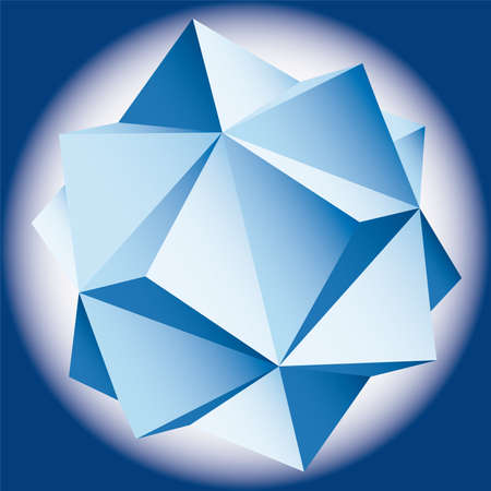 polyhedral: polyhedral figure of a star with gradient vector 3D.  Illustration