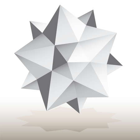 polyhedral: Polyhedral figure of a star with gradient vector 3D.