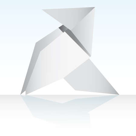 lonely bird: Vector An origami bird on a white background
