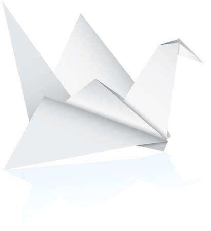 uccello origami: Vector un uccello di origami su uno sfondo bianco  Vettoriali