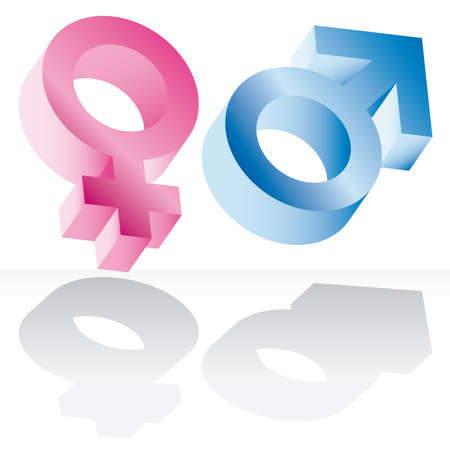 M�nnlich und weiblich Zeichen isoliert auf wei�em Hintergrund  Lizenzfreie Bilder - 6761800