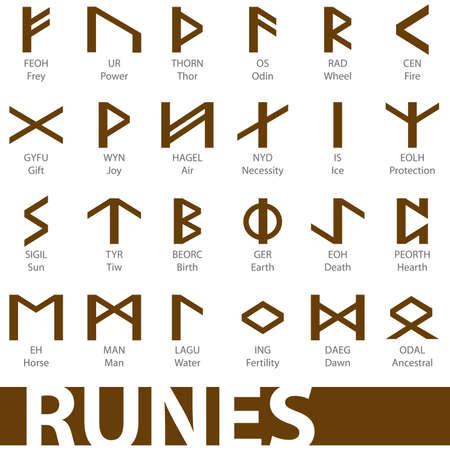 ocultismo: Conjunto de s�mbolos de iconos de ilustraciones de runas vector  Vectores